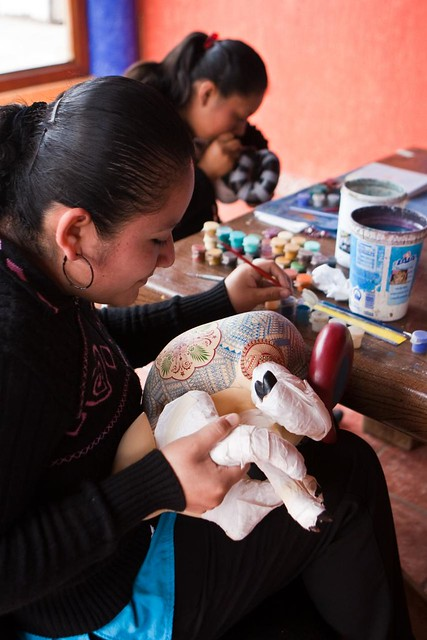Two Zapotec women artists working together