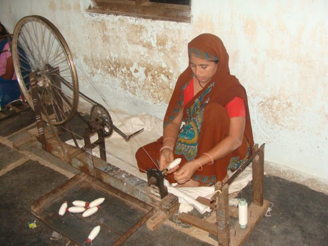 Khadi spinning in India