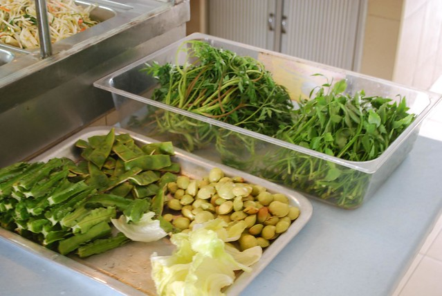 Ingredients for an ulam salad in Malaysia